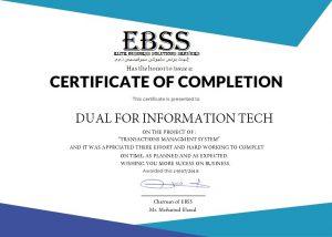EBSS Certificate